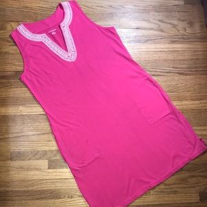Lands' End Pink Tunic Dress With Pockets